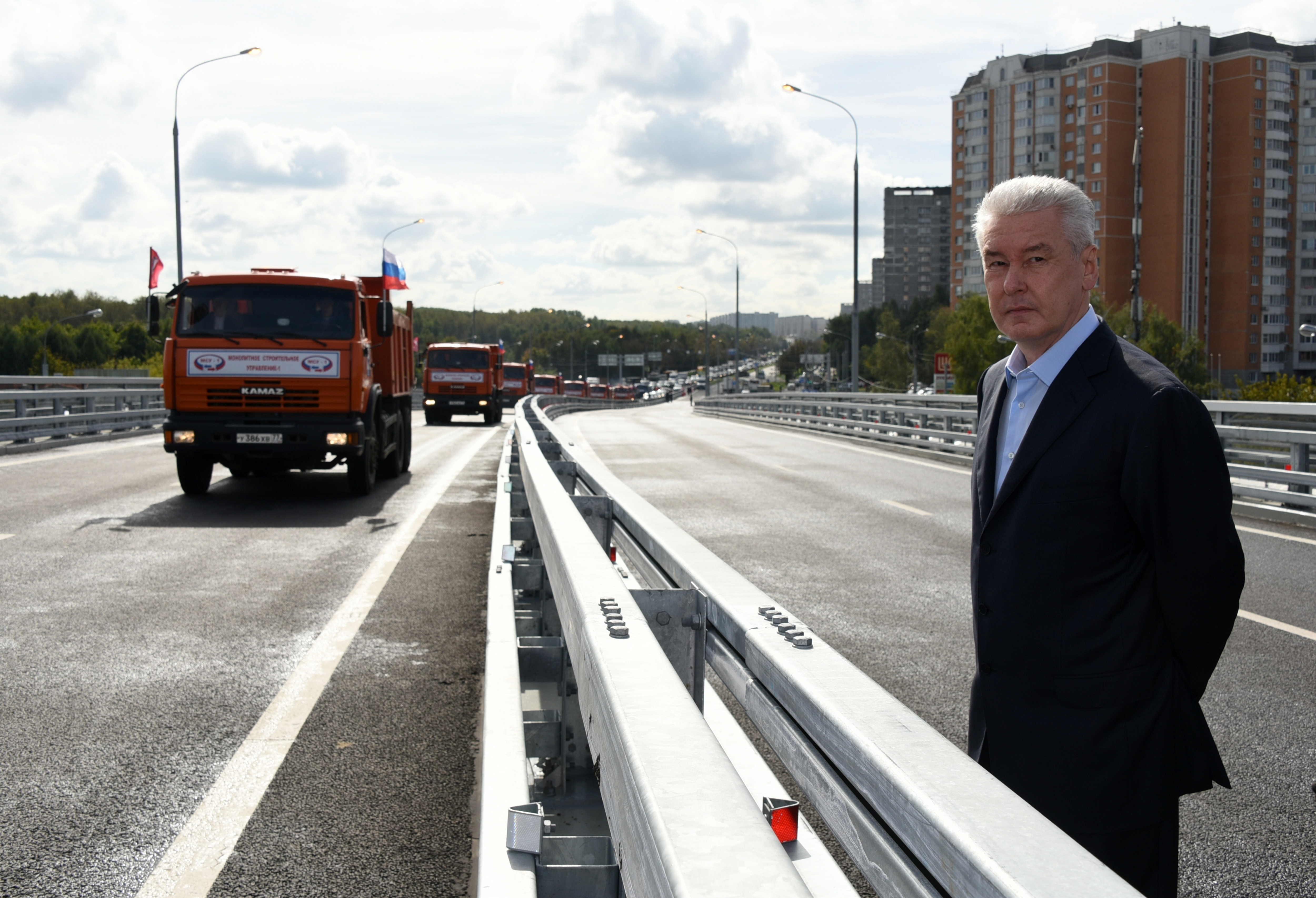 06 сентября 2016 Мэр Москвы Сергей Собянин открыл эстакаду на Липецкой улице