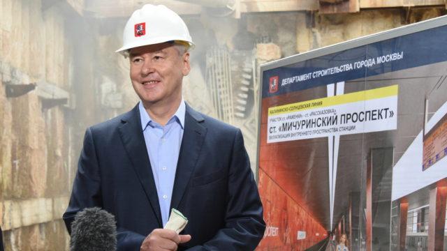 21 июля 2016 Мэр Москвы Сергей Собянин осмотрел ход строительства станции метро Мичуринский проспект